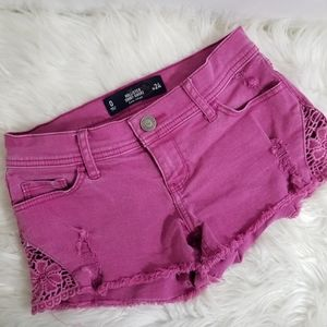 Hollister Cut Out Pink Frayed Low Short Shorts 24